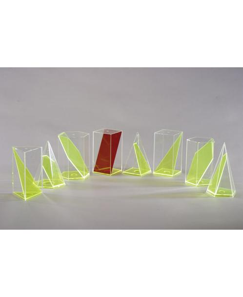 Komplet od 8 geometrijskih tijela s pomičnim diagonalnim presjekom 641-900-SA