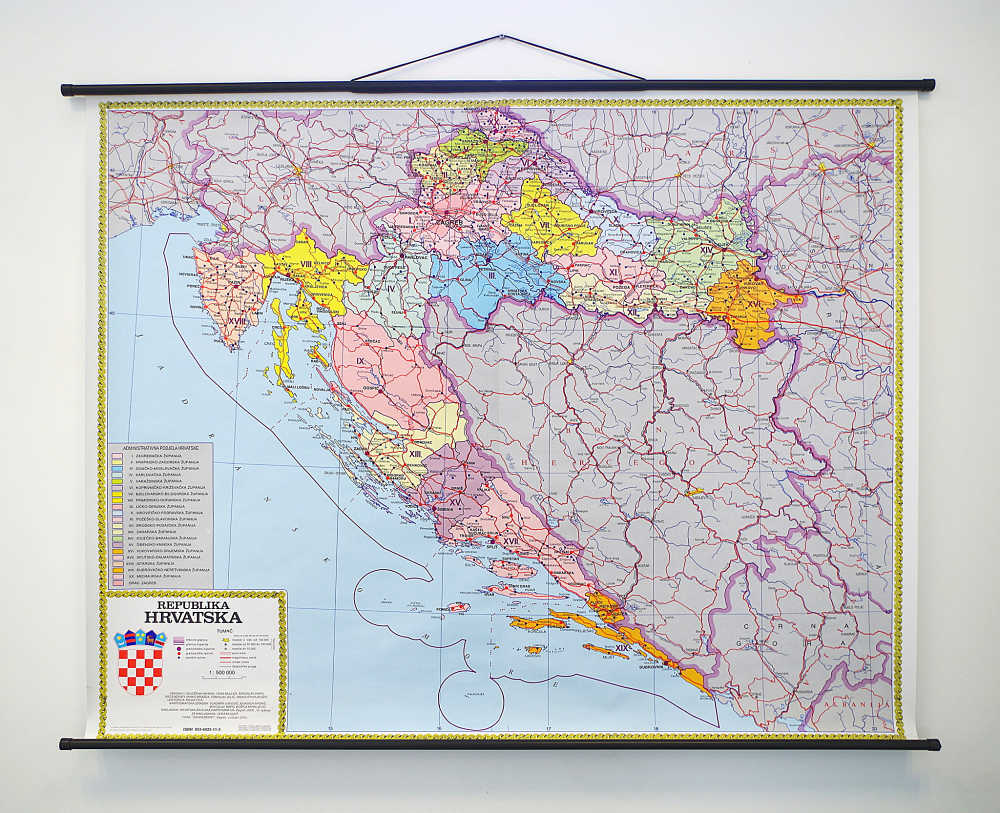 Geografska karta Republika Hrvatska - županijsko ustrojstvo.