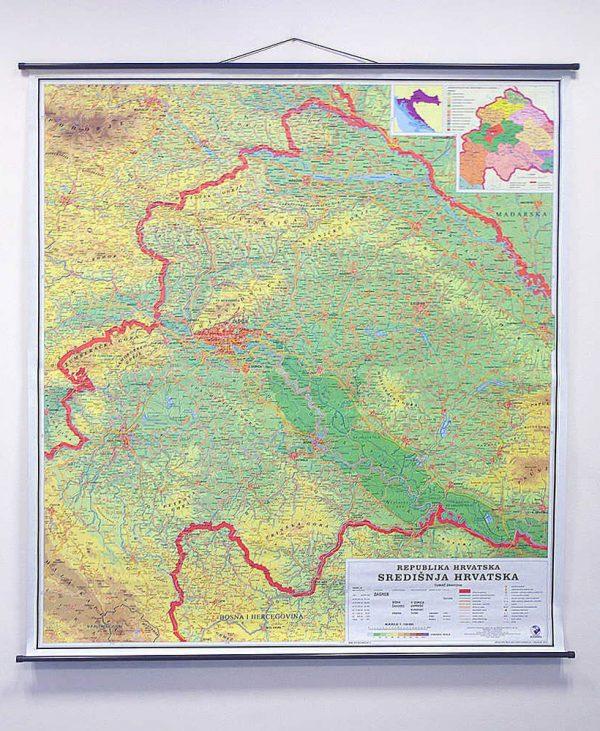 Geografska karta Središnja Hrvatska