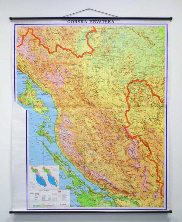 Geografska karta Gorska Hrvatska.