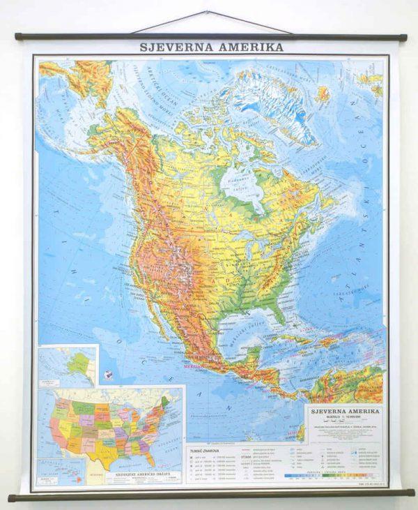 Geografska karta Sjeverna Amerika