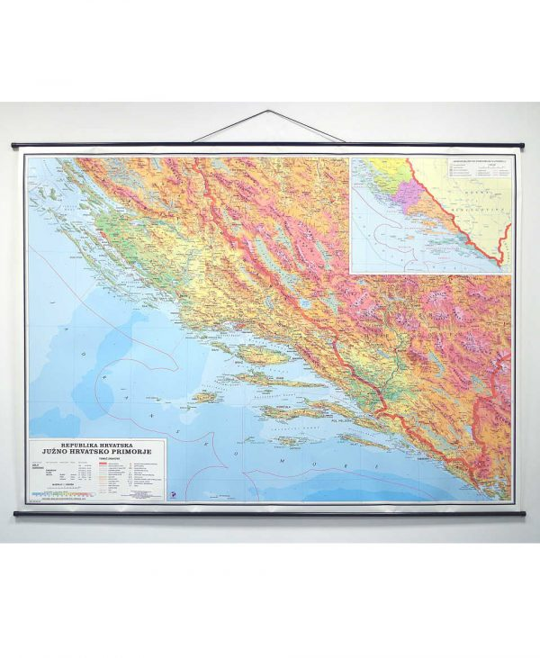 Geografska karta Južno Hrvatsko Primorje