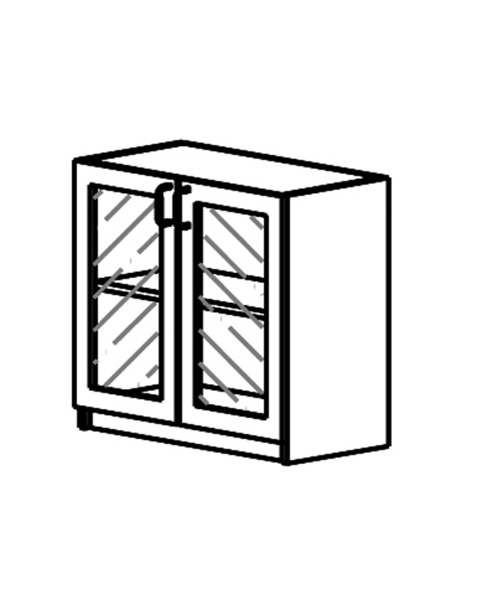 Niski ormarić - staklena vratna krila od iverala