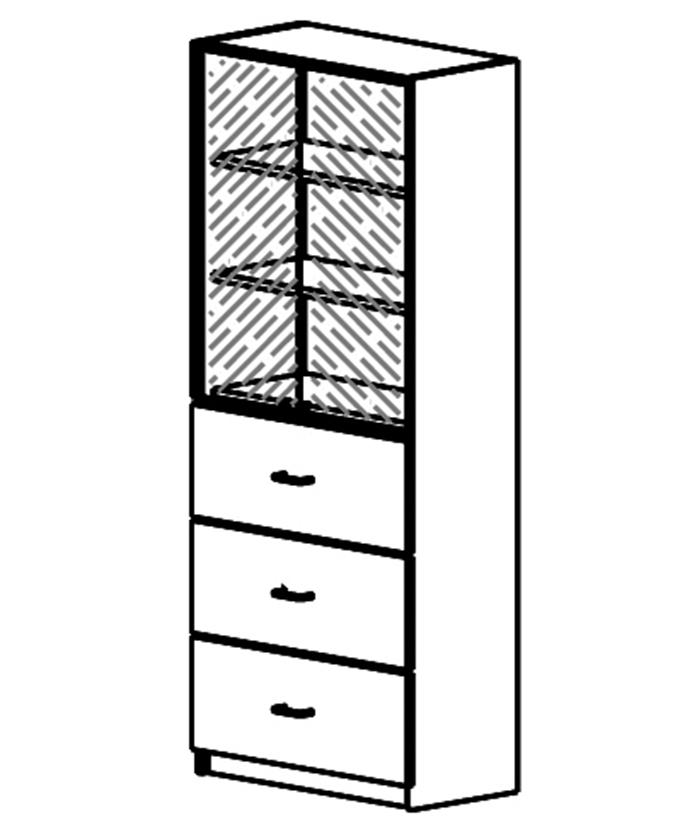 Ormar s 2 krila od brušenog stakla gore i 3 ladice dolje