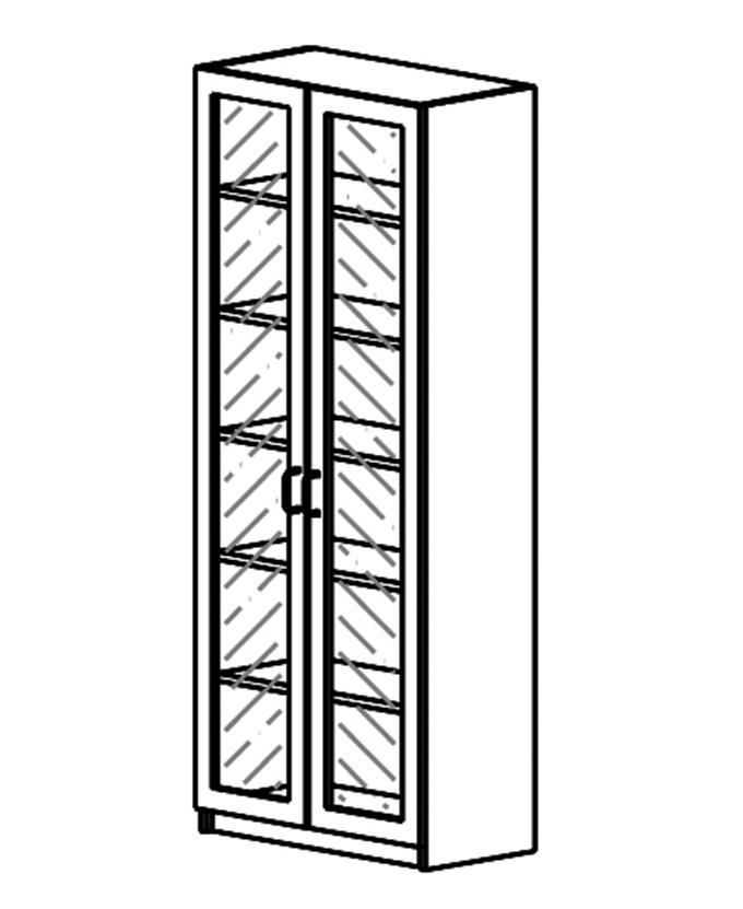 Ormar s 2 staklena vratna krila okvir od iverala