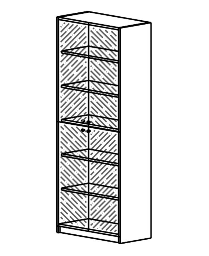 Ormar s 4 staklena vratna krila brušeno staklo