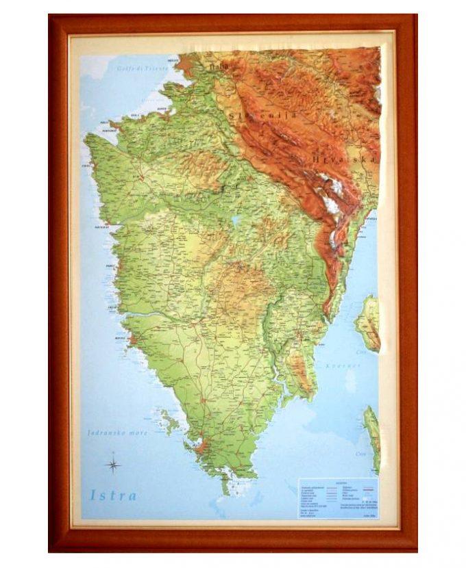 Istra, reljefna karta 100×70 cm, (PVC okvir)