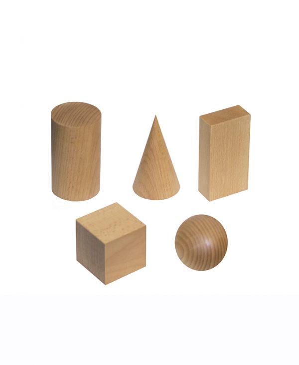 9135-5 Modeli geometrijskih tijela drveni 5 kom