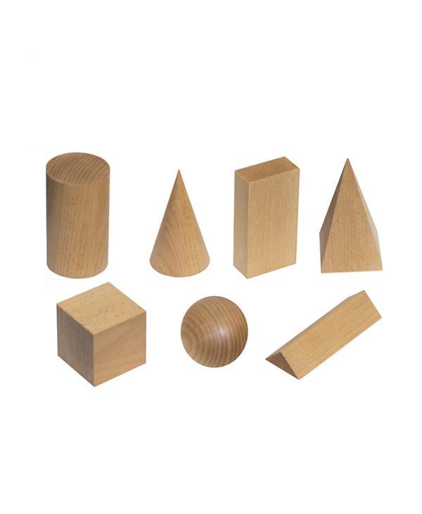 9135-7 Modeli geometrijskih tijela drveni 7 kom