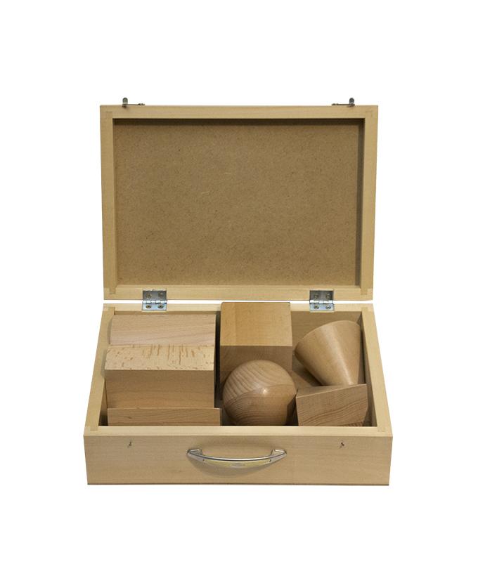 Modeli geometrijskih tijela drveni 7 kom u kutiji