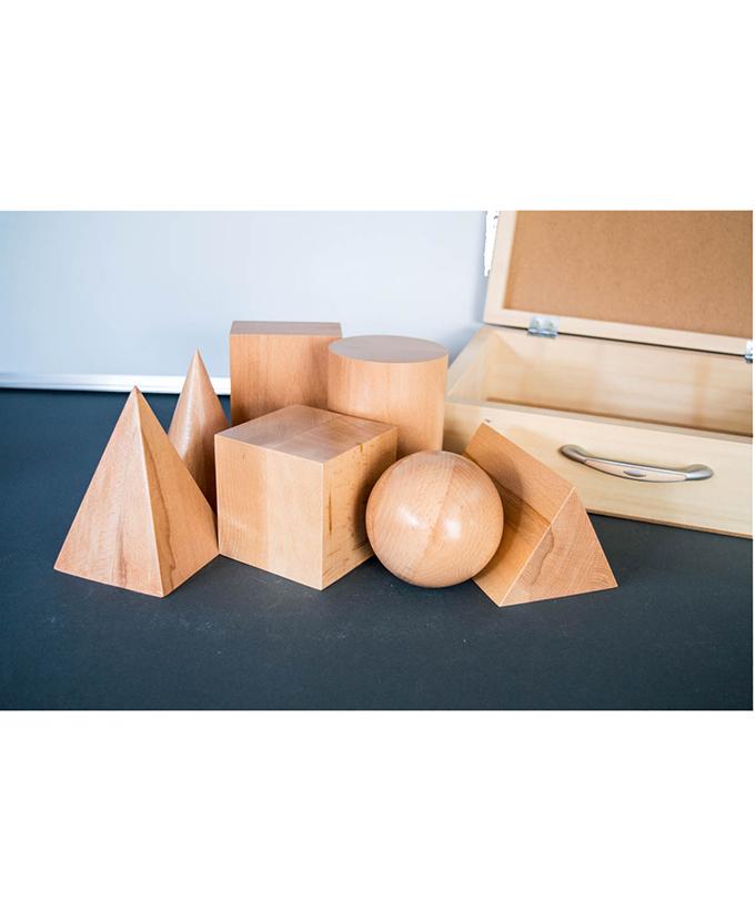 9135-7DK Modeli geometrijskih tijela drveni 7 kom u kutiji