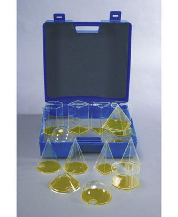 Komplet od 14 komada geometrijskih tijela u čvrstom plastičnom kovčegu za transport i pohranu