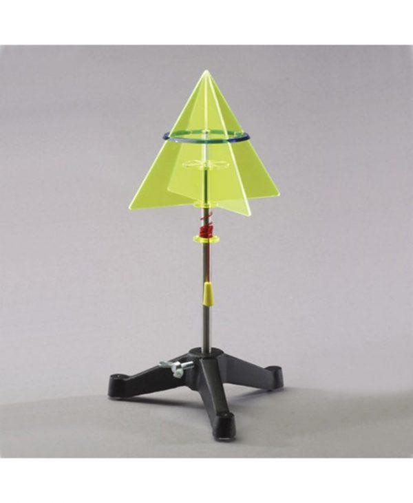 Rotacijski model koji stvara stožac. Dva jednakostranična trokuta rotiraju oko svoje osi.